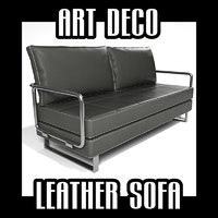 art deco leather sofa 3d obj