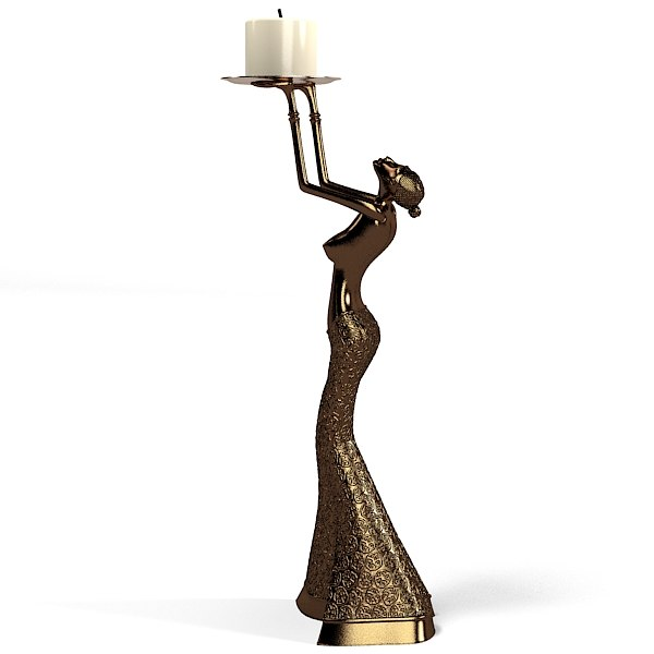 statue home decor woman candlestick resin sculpture Gallay modern contemporary asian oriental african art.jpg