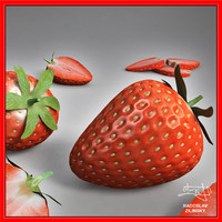 realistic strawberry 3d model