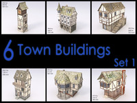 Town Building Set, Low Poly, Textured