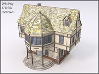 Medieval Building VI, Low Poly, Textured