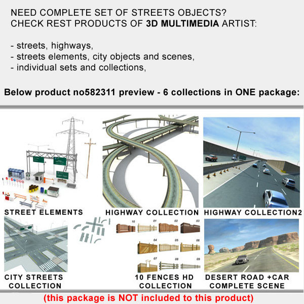 obj street elements objects collections - Street Elements Collection Objects... by 3D_Multimedia