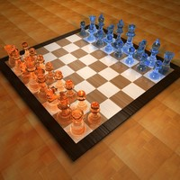 c4d glass chess set