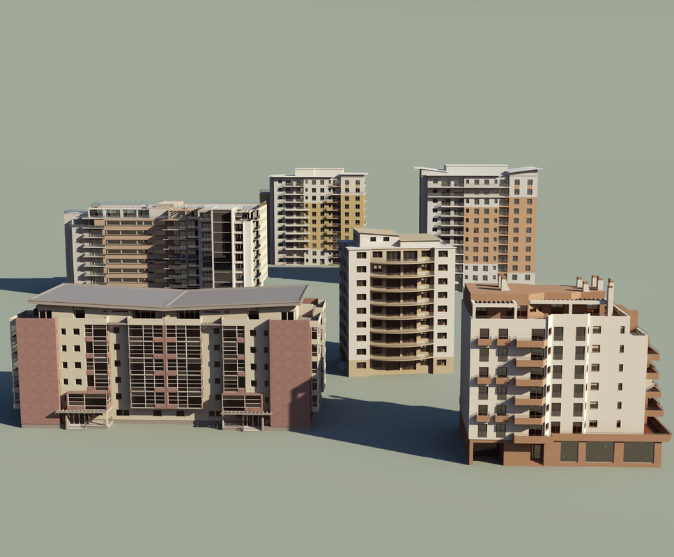 3d 6 apartment buildings model for Apartment 3d model
