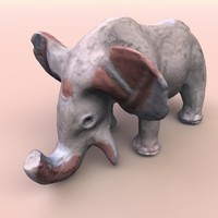 3d obj clay elephant