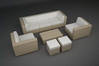 3d rattan lounge furniture set model