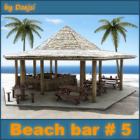3d tropical beach bar