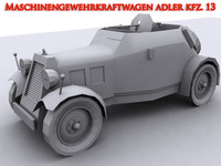 maschinengewehrkraftwagen adler kfz 13 3d 3ds