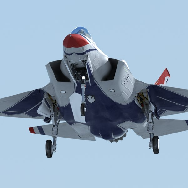 US Air Force F35 A Lightning II Thunderbirds with Pilot 3D Model available on Turbo Squid the worlds leading provider of digital 3D models for
