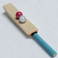 3d model of cricket bat ball