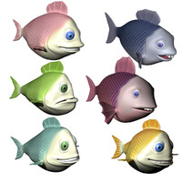 3ds max fish cartoon characters rigged