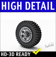 Truck Tire and Rim 3D Model