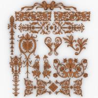 3d dxf classical decoration 3