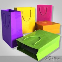 3d model shopping bag various colors