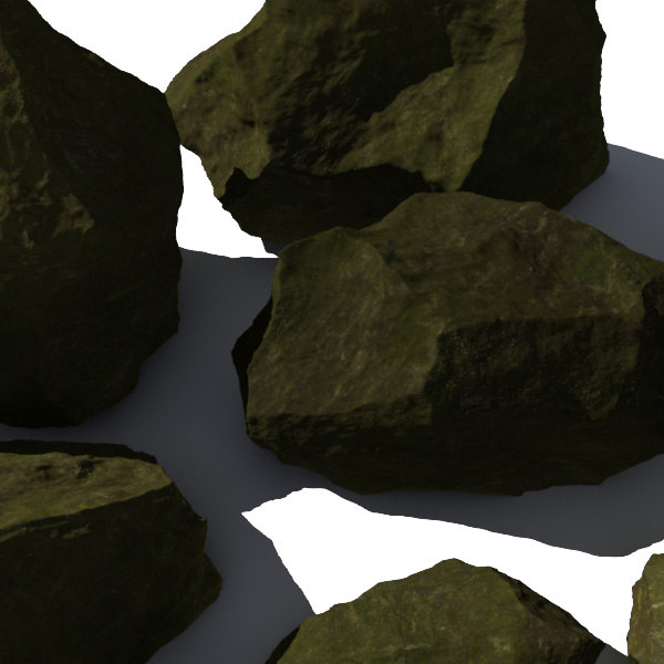 3d model jagged rocks stones - - Rocks 9 Jagged RM10 - Mossy Green 3D Rocks or Stones... by A_Relevant
