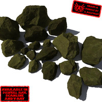 Rocks 9 Jagged RM10 - Mossy Green 3D Rocks or Stones