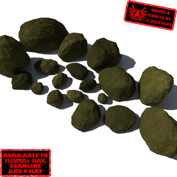 Rocks 9 Smooth RM10 - Mossy Green 3D Rocks or Stones