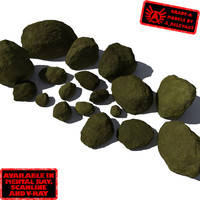 Rocks - Stones 9 Smooth RM10 - Mossy Green 3D Rocks or Stones