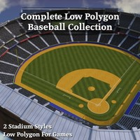 Complete Low Polygon Baseball Collection