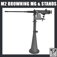 m2 browning mg machine gun 3d model