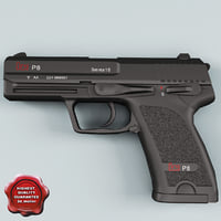 Heckler Koch USP P8 pistol Low Poly