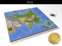Asia, High resolution 3D relief maps