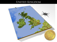 United Kingdom, High resolution 3D relief maps