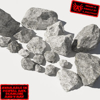 Rocks - Stones 11 Jagged RM19 - Chalk White 3D Rocks or Stones