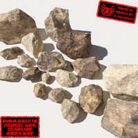 Rocks 12 Jagged RS56 - Dirty Tan 3D Rocks or Stones
