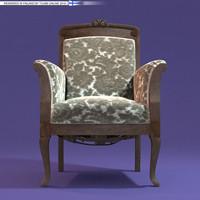 rococo armchair classic chair obj