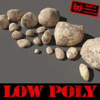 Rocks 12 Low Poly Smooth RS56 - Dirty Tan 3D rocks or Stones