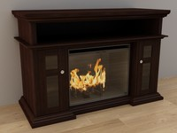 3d 3ds wood fireplace classic flame