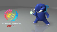 3d model mascot cricket world cup