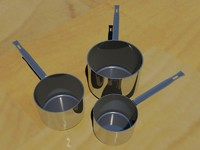 3d model set saucepans pots