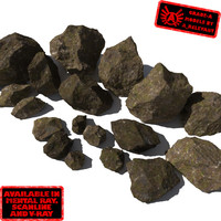 Rocks 10 Jagged RM11 - Mossy Dirty 3D Rocks or Stones