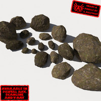 Rocks 10 Smooth RM11 - Mossy Dirty 3D Rocks or Stones