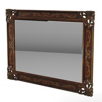 mirror rectangular wood obj