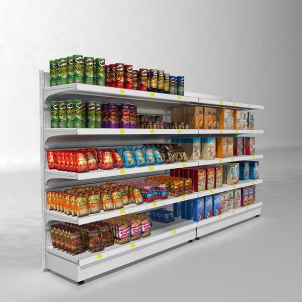 3d model supermarket shelves - Supermarket Shelves... by 3dcochise