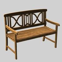 wooden garden bench 3d model