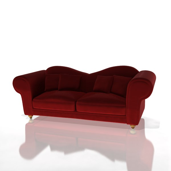 Red Velvet Couch Sofa