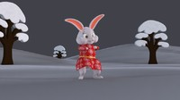 3d model bunny character cloth