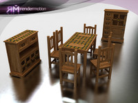 c2 s1 sunflower dining-comedor 3d model