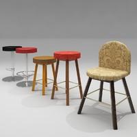casino chair stools 3d model