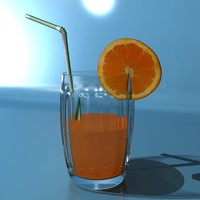 3d model orange juice glass