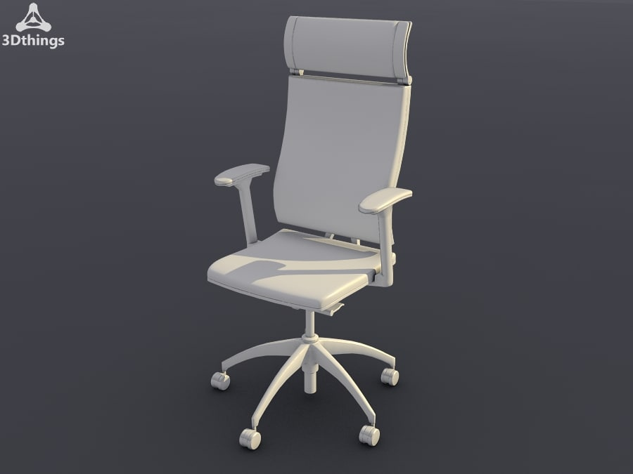 Swivel chair with membrane-covered backrest and flat cushion and headrest_01.jpg