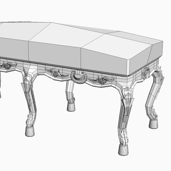 baroque style bench 3d max - Baroque Style Bench... by 3dfurniture