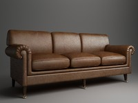 sofa rolled arm 3d obj