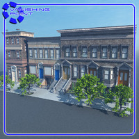 brownstone 1 scene street 3ds