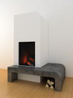 3d modern fireplace marble