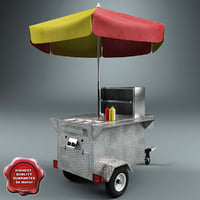 3d hot dog cart v2 model